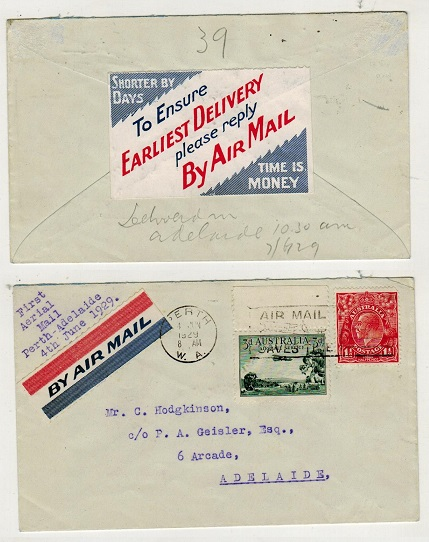 AUSTRALIA - 1929 first flight cover to Adelaide with EARLIEST DELIVERY label on reverse.