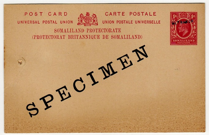 SOMALILAND - 1904 1a carmine PSC unused SPECIMEN with additional ULTRAMAR h/s applied.  H&G 1.