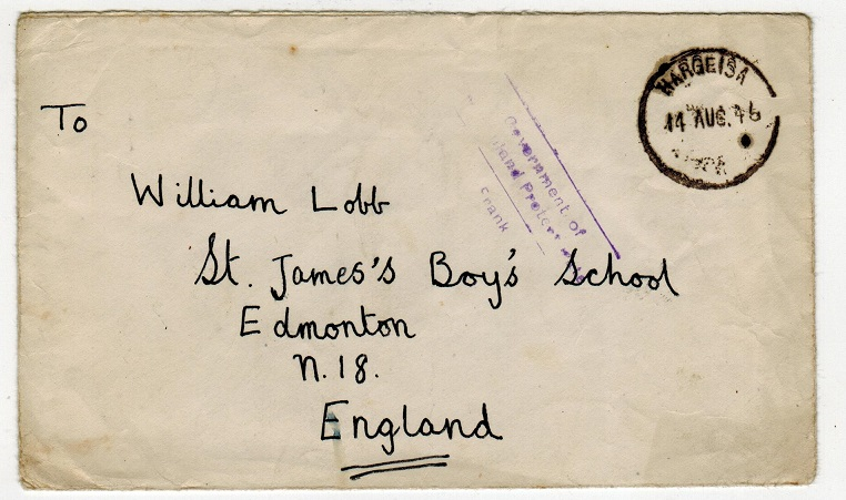 SOMALILAND - 1946 stampless cover to UK used at HARGEISA with violet