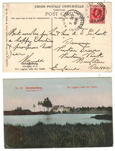 GOLD COAST - 1908 1d rate postcard use to UK used at KUMASI.