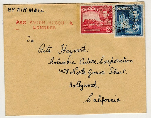 MALTA - 1947 5d rate cover to USA struck PAR AVION JUSQU
