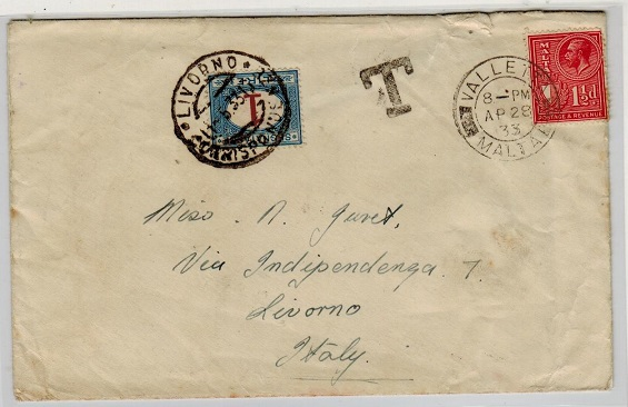 MALTA - 1933 underpaid cover to Italy with 1L