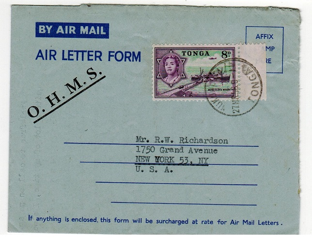 TONGA - 1956 use of FORMULA air letter to USA overprinted O.H.M.S.