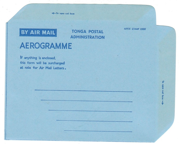 TONGA - 1962 TONGA POSTAL ADMINISTRATION unused aerogramme.