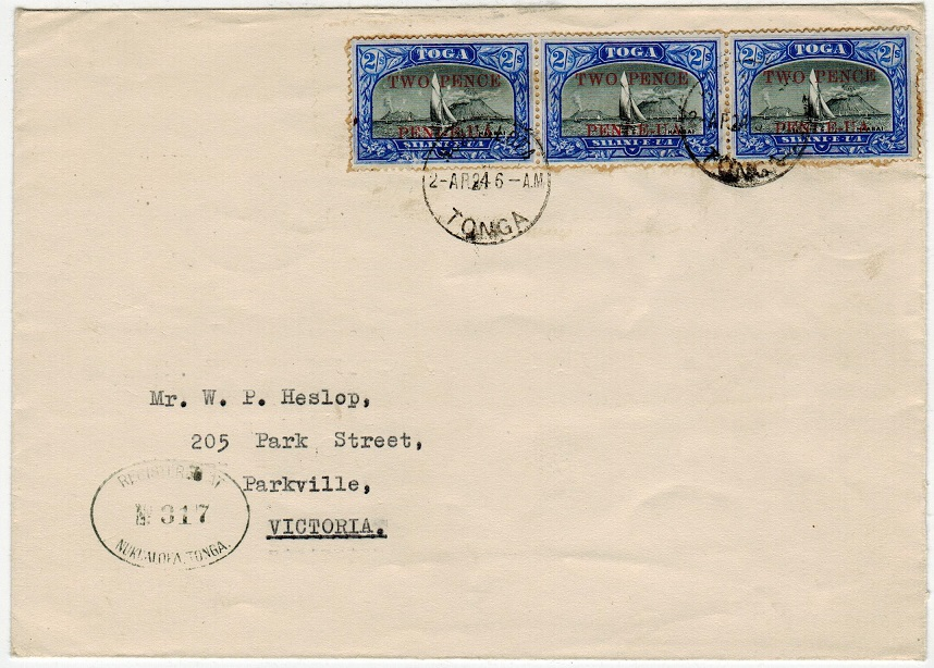 TONGA - 1924 2d on 2/- (x3) registered cover to Australia used at NUKUALOFA.