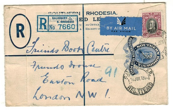 SOUTHERN RHODESIA - 1931 4d dark blue RPSE uprated to UK used at SALISBURY.  H&G 2.