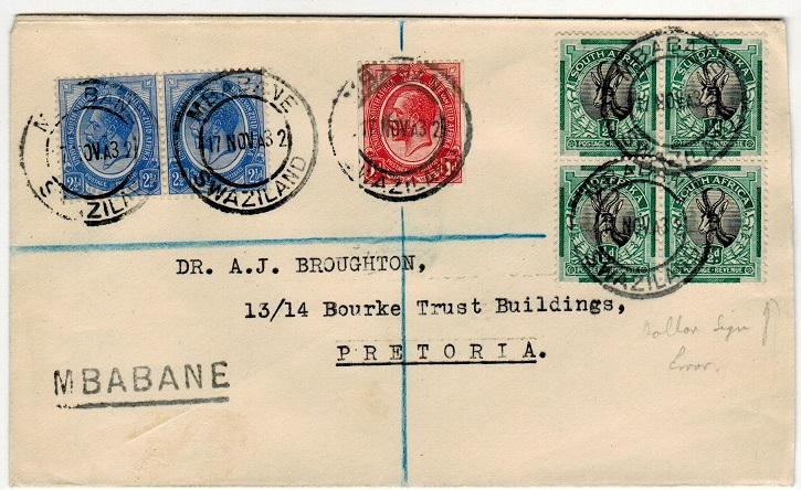 SWAZILAND - 1932 registered cover used locally at MBABANE.