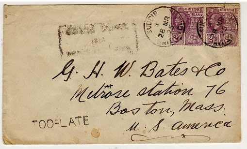 BRITISH GUIANA - 1925 4c rate local cover used at SUDDIE with TOO LATE h/s applied.