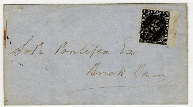 BRITISH GUIANA - 1875 1c rate locally addressed wrapper used at GEORGETOWN.