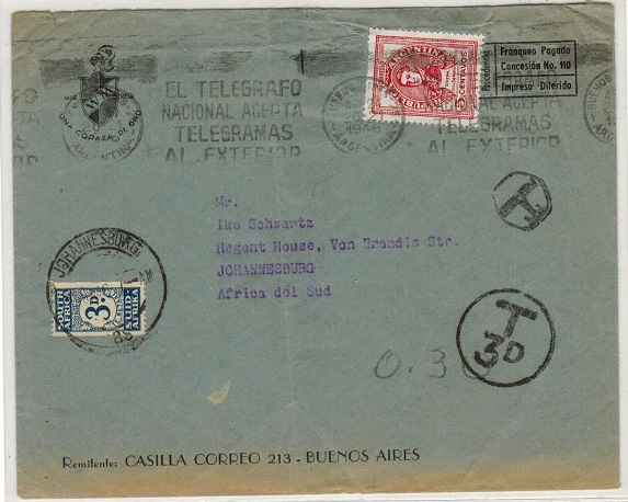 SOUTH AFRICA - 1946 inward underpaid cover from Argentina with 3d