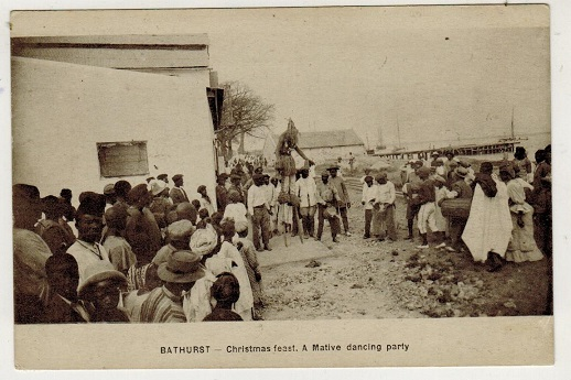 GAMBIA - 1930 (circa) unused postcard depicting Christmas Feast.