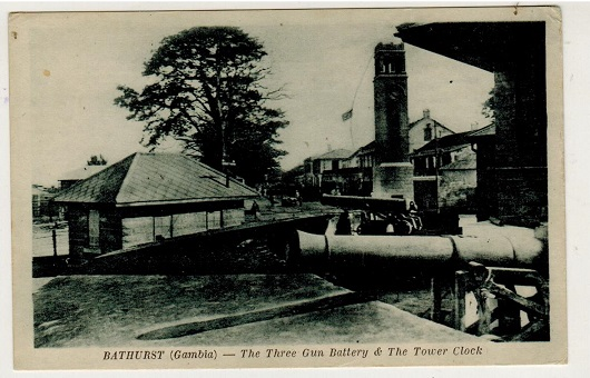 GAMBIA - 1910 (circa) unused postcard depicting The Three Gun Battery.