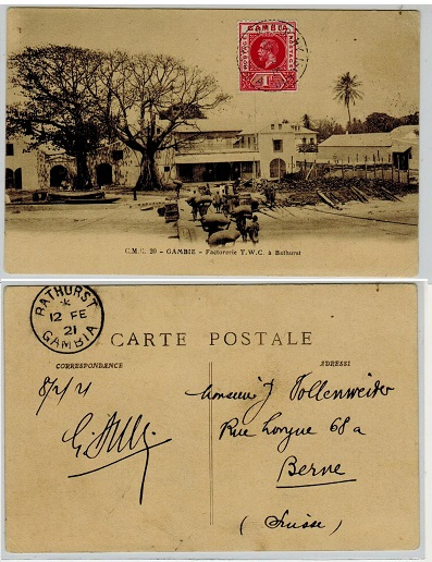 GAMBIA - 1921 1d rate postcard use to Switzerland used at MacCARTHY ISLAND.