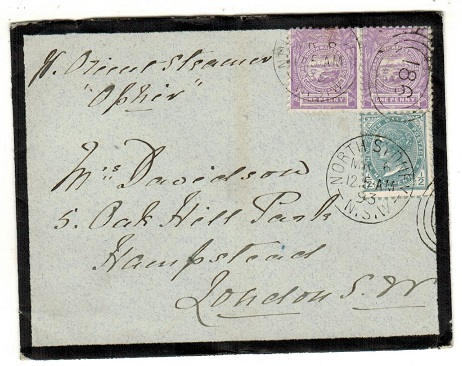 AUSTRALIA (New South Wales) - 1893 2 1/2d rate cover to UK used at NORTH SYDNEY.