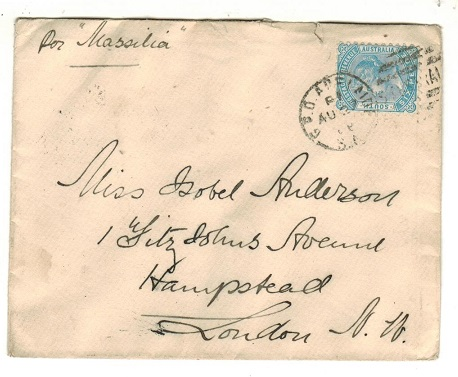 AUSTRALIA (South Australia) - 1888 6d rate cover to UK used at GPO ADELAIDE.