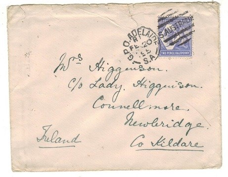 AUSTRALIA (South Australia) - 1895 2 1/2d rate cover to Ireland used at GPO ADELAIDE.