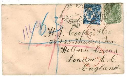 AUSTRALIA (South Australia) - 1901 5d rate registered cover to UK used at ADELAIDE.