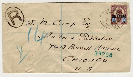 BRITISH LEVANT - 1904 80p on 5d registered cover to USA used at SMYRNA.