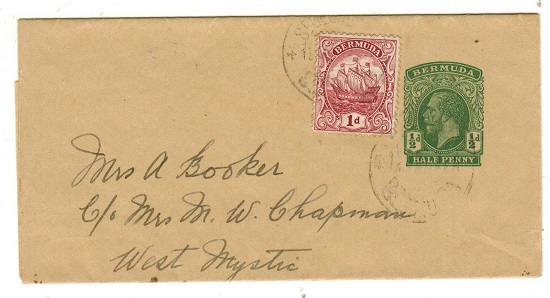 BERMUDA - 1913 1/2d green postal stationery wrapper to USA uprated at ST.GEORGES.  H&G 6.