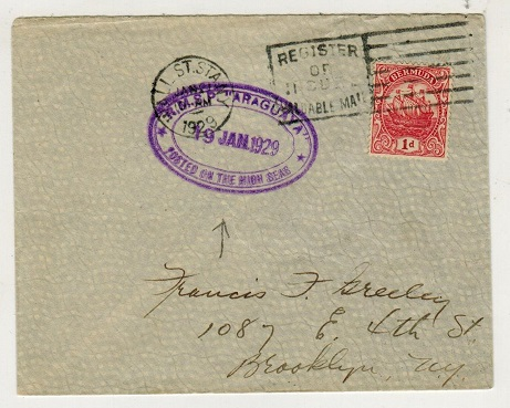 BERMUDA - 1929 1d rate maritime cover to USA used on