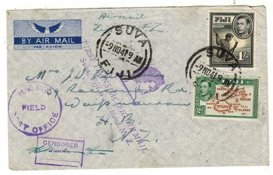 FIJI - 1941 1/2d rate censored first flight cover to New Zealand.