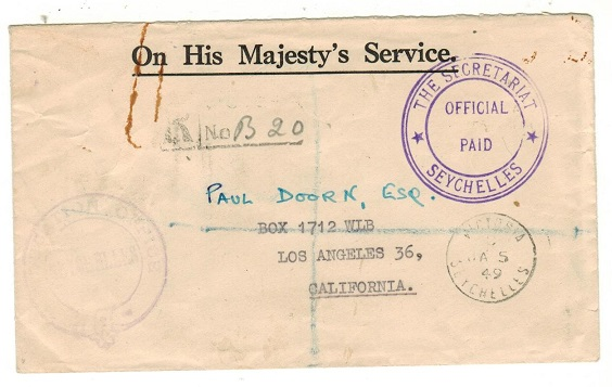 SEYCHELLES - 1949 OFFICIAL PAID