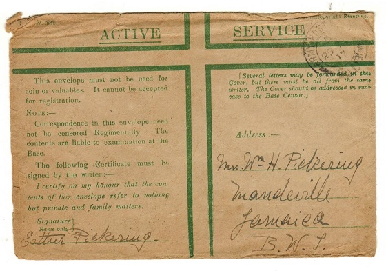 JAMAICA - 1917 inward green cross ACTIVE SERVICE cover from Jamaican soldier during WW1.