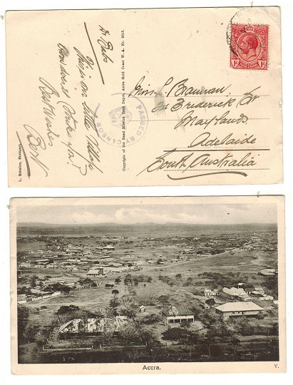 GOLD COAST - 1916 (circa) 1d rate postcard to Australia with PASSED BY CENSOR h/s.