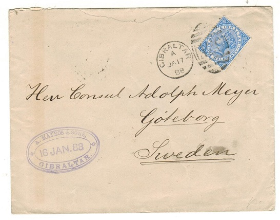 GIBRALTAR - 1888 2 1/2d rate cover to Sweden.