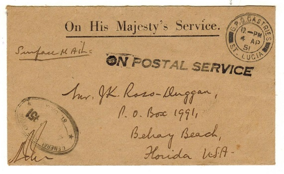ST.LUCIA - 1951 ON POSTAL SERVICE