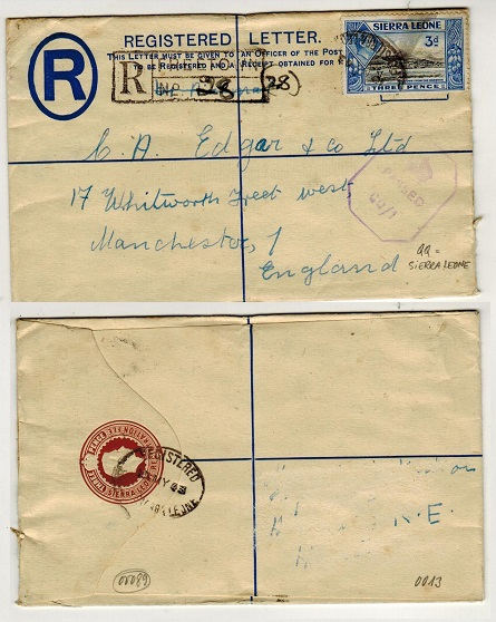 SIERRA LEONE - 1938 3d brown RPSE uprated to UK with