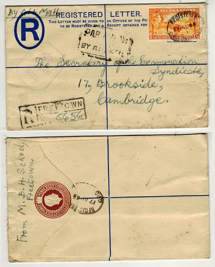 SIERRA LEONE - 1938 3d brown RPSE to UK with