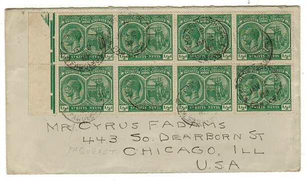 ST.KITTS - 1921 1/2d (x8) franked PAQUEBOT cover to USA.