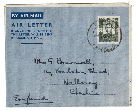 SOUTHERN RHODESIA - 1948 6d greenish grey postal stationery airletter to UK used at UMTALI.  H&G 4.