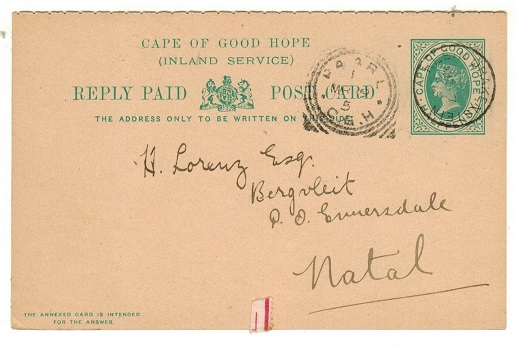 CAPE OF GOOD HOPE - 1898 1/2d green PSRC to Natal (no message) used at KLEIN DRAKENSTEIN.  H&G 16.