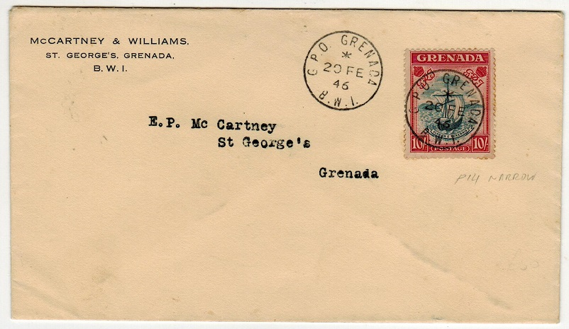 GRENADA - 1946 10/- on local cover used at GPO GRENADA.