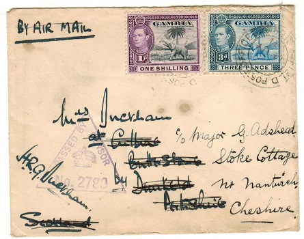 GAMBIA - 1941 1/3d rate PASSED BY CENSOR cover to UK used at FPO/109.