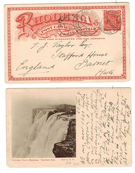 RHODESIA - 1899 1d brick red illustrated PSC to UK used at VICTORIA FALLS.  H&G 11a.