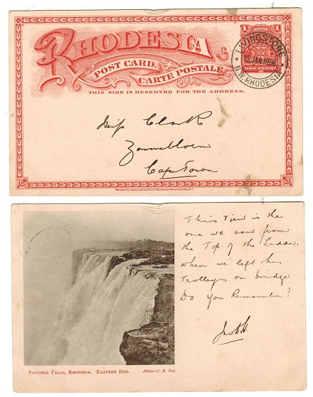 RHODESIA - 1899 1d brick red illustrated PSC to Cape Town used at LIVINGSTONE.  H&G 11a.