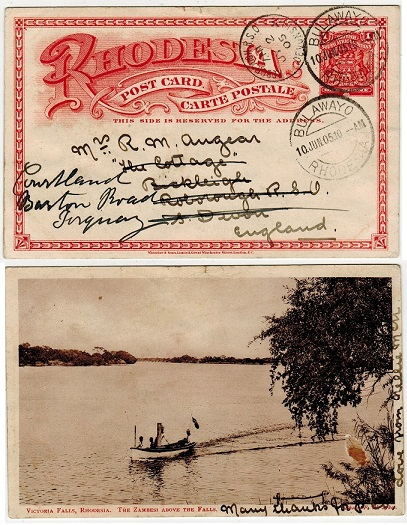 RHODESIA - 1899 1d brick red illustrated PSC to UK used at BULAWAYO.  H&G 11a.