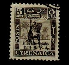 CYRENAICA (Libya) - 1951 5m grey-brown used with OVERPRINT DOUBLE.  SG 136b.