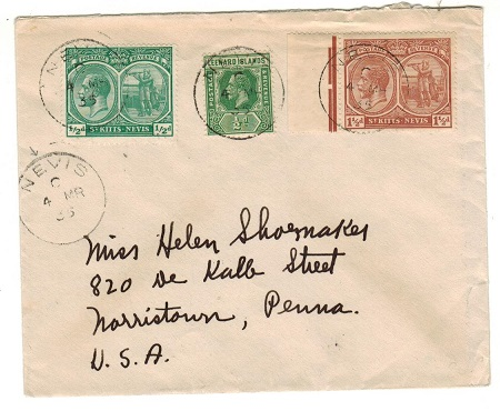 ST.KITTS - 1935 2 1/2d rate combination cover to USA used at NEVIS.