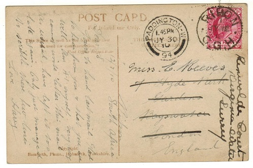 CAPE OF GOOD HOPE - 1910 1d rate postcard use to UK used at RIPON/CGH.