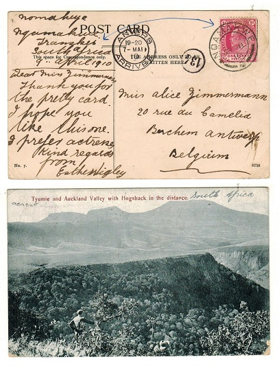 CAPE OF GOOD HOPE - 1910 1d rate postcard use to Belgium used at NQAMAKWE.