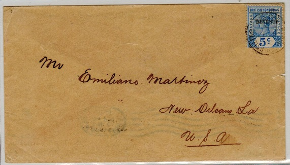 BRITISH HONDURAS - 1900 5c rate cover to USA used at BELIZE.