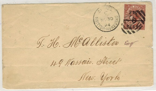 BRITISH HONDURAS - 1894 5c surcharged adhesive on cover to USA used at BELIZE.