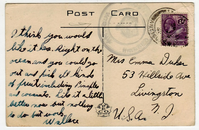 ANTIGUA - 1941 1d rate censored use of postcard to USA.