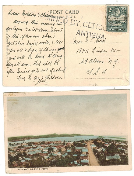 ANTIGUA - 1941 2d rate censored use of postcard to USA.