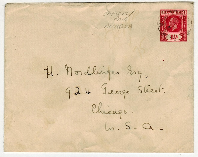 ANTIGUA - 1926 1 1/2d PSE of Leeward Islands to USA cancelled OFFICIAL PAID/ANTIGUA.  H&G 6.