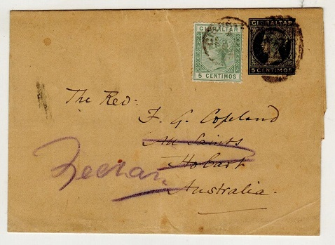 GIBRALTAR - 1889 5c green uprated postal stationery wrapper to Tasmania.  H&G 6.